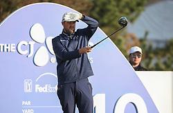 Oct 19, 2018-Jeju, South Korea-MARC LEISHMAN of Australia action on the 10th tee during the PGA Golf CJ Cup Nine Bridges Round 2 at Nine Bridges Golf Club in Jeju, South Korea.