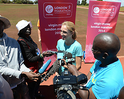 © London News Pictures. 01/02/2014. Virgin Money London Marathon 2014 preview. Iten, Kenya.  British athlete Paula Radcliffe talking to media on the day that she publicly announces that she will compete in one more marathon, before her racing retirement.  Photo by Mike King/London Marathon/LNP