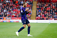 Luton Town midfielder Jorge Grant (18), on loan from Nottingham Forest, misses his free kick during the EFL Sky Bet League 1 match between Barnsley and Luton Town at Oakwell, Barnsley, England on 13 October 2018.