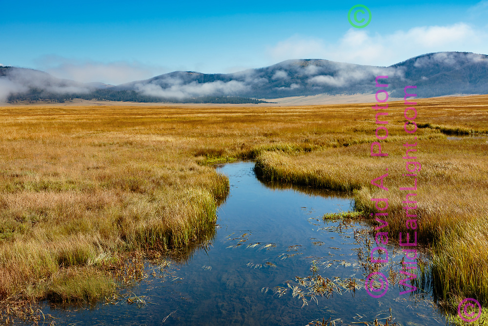 East Fork of the Jemez River passes through the grassland of Valle Grande as fog lifts on an early autumn morning, Valles Caldera National Preserve, NM, © David A. Ponton