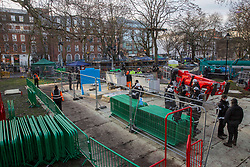 © Licensed to London News Pictures.31/01/2021, London,UK. The eviction of HS2 Rebellion group from Euston Square Gardens in central London began four days ago and continues today. Eco-activists are living in increasingly unstable tunnels beneath the square. Photo credit: Marcin Nowak/LNP