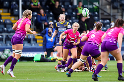 Jess Weaver of Loughborough Lightning passes the ball away from the breakdown - Mandatory by-line: Nick Browning/JMP - 14/11/2020 - RUGBY - Sixways Stadium - Worcester, England - Worcester Warriors Women v Loughborough Lightning - Allianz Premier 15s
