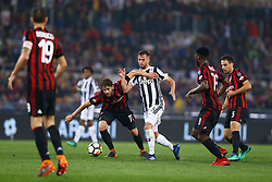 May 9, 2018 - Rome, Italy - Manuel Locatelli of Milan and Miralem Pjanic of Juventus  during the TIM Cup Final between Juventus and AC Milan at Stadio Olimpico on May 9, 2018 in Rome, Italy. (Credit Image: © Matteo Ciambelli/NurPhoto via ZUMA Press)