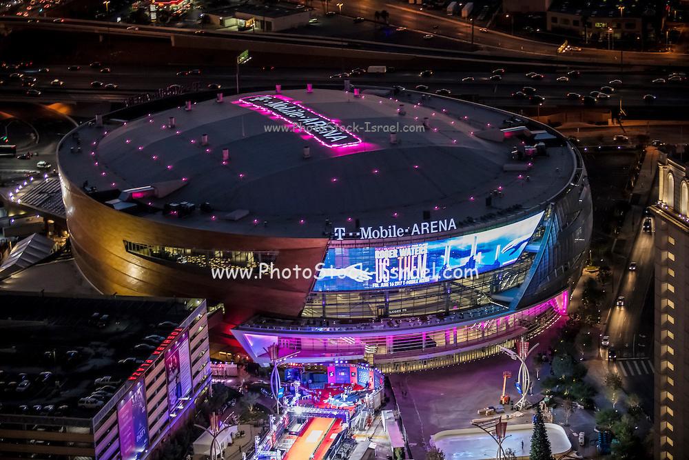 Aerial view of T-Mobile Arena the Strip, Las Vegas, Nevada, USA