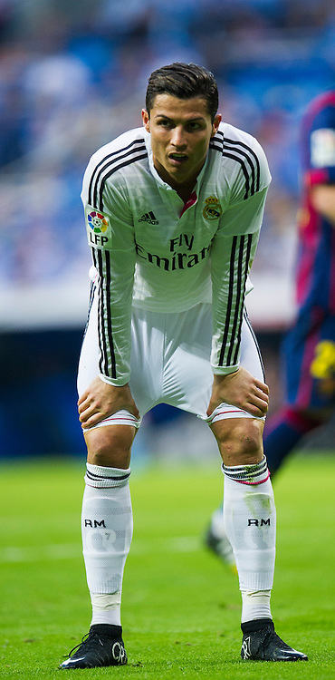 MADRID, SPAIN - OCTOBER 25:  Cristiano Ronaldo ofReal Madrid reacts during the La Liga match between Real Madrid CF and FC Barcelona at Estadio Santiago Bernabeu on October 25, 2014 in Madrid, Spain.  (Photo by Juan Manuel Serrano Arce/Getty Images) *** Local Caption *** Cristiano Ronaldo