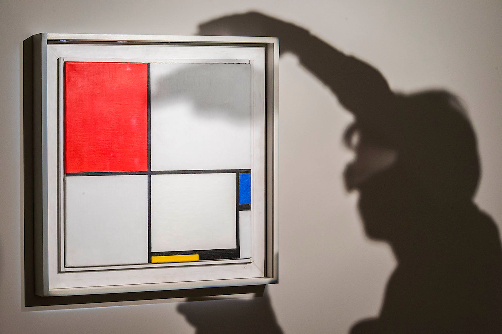"""Piet Mondrian (1872-1944), Composition No.III (Composition with Red, Blue, Yellow and Black), 1929 (est: $15-25million) - Preview of almost fifty works from Christie's spring sales in New York of Impressionist, Modern, Post-War And Contemporary Art. The most expensive work is Les femmes d'Alger (Version """"O""""), 1955, by Pablo Picasso (1881-1973), estimate $140million. Other highlights include: Pablo Picasso (1881-1973), Femme à la résille, 1938 (est $55 million); Mark Rothko (1903 -1970), No. 36 (Black Stripe), 1958 (est: $30-50 million); Andy Warhol (1928-1987), Colored Mona Lisa, 1963 (est $40 million); Claude Monet (1840-1926), Le Parlement, soleil couchant, 1902 (est: $35-45 million); Jean Dubuffet, Paris Polka, 1961 (est $25 million); Piet Mondrian (1872-1944), Composition No.III (Composition with Red, Blue, Yellow and Black), 1929 (est: $15-25million); and Amedeo Modigliani (1884-1920), Portrait de Béatrice Hastings, 1916 (est $7-10million) from the Collection of John C. Whitehead. The works will be on view to the public from 11 to 16 April at Christie's King Street, London."""