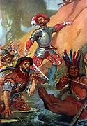 Captain Alonzo de Avila, leading an attack during the Campaign of Hernando Cortez in Mexico (Yucca) 1519.