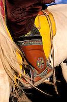 Mongolie, Province d'Arkhangai, detail de botte d'un cavalier nomade // Mongolia, Arkhangai province, Detail of a mongolian boot.