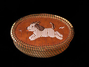 Ojibwa (Chippewa) birchbark and sweetgrass basket with runny puppyl made with porcupine quills, Great Lakes region.