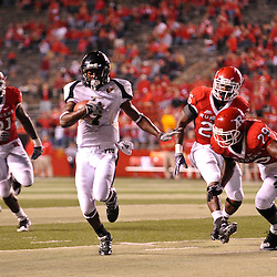 Sep 19, 2009; Piscataway, NJ, USA; Florida International wide receiver T.Y. Hilton (4) runs for a touchdown after a catch during the closing minutes of the second half of Rutgers' 23-15 victory over Florida International at Rutgers Stadium.