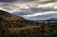 Morning light on the Moodna Viaduct railroad trestle and Schunnemunk Mountain in Cornwall, N.Y., on Oct. 18, 2019.