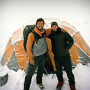 Anthropologist Ted Callahan and photographer Matthieu Paley in front of Ted's winter tent. .Winter expedition through the Wakhan Corridor and into the Afghan Pamir mountains, to document the life of the Afghan Kyrgyz tribe. January/February 2008. Afghanistan