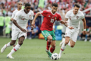 Younes Belhanda of Morocco battles with William and Jose Fonte of Portugal during the 2018 FIFA World Cup Russia, Group B football match between Portugal and Morocco on June 20, 2018 at Luzhniki stadium in Moscow, Russia - Photo Thiago Bernardes / FramePhoto / ProSportsImages / DPPI