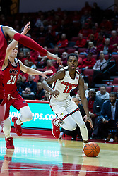 NORMAL, IL - December 18: Antonio Reeves drives in on Jamie Ahale during a college basketball game between the ISU Redbirds and the UIC Flames on December 18 2019 at Redbird Arena in Normal, IL. (Photo by Alan Look)