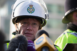 © licensed to London News Pictures. London, UK 16/01/2013. Pauline Cranmer, Ambulance Operations Manager for the Ambulance Services giving a statement about the helicopter crash in Vauxhall, London. Photo credit: Tolga Akmen/LNP