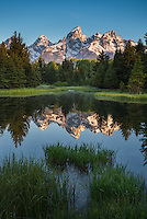 Sunrise refelction of the Tetons at Schwabacher Landing, Grand Teton National Park, Wyoming