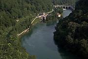 La diga dell' Adda, dove nasce il naviglio di Paderno, vista dal ponte in ferro...Dam on Adda river, where born the canal of Paderno, view from iron bridge.