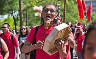 Nathan Phillips, Native American drummer in Washington DC the day before climate march in 2017. Philips found himself in the middle of a controversy with the Covington Catholic students in 2019.