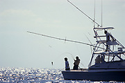 Deep sea fisherman catching a swordfish.
