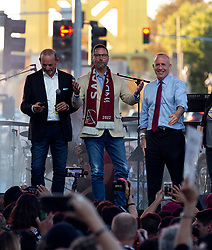 Oct 21, 2019; Sacramento, CA, USA; MLS Commissioner Don Garber, from left, investor Matt Alvarez, and Sacramento Mayor Darrell Steinberg rouse the crowd during a fan celebration event for the new Sacramento Republic FC MLS soccer team at Capital Mall. Mandatory Credit: D. Ross Cameron-USA TODAY Sports
