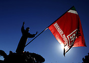 Labour union CGIL organized a national demonstration protesting against the government labour reform called Jobs Act. In the photo the red flag of the pensioners union. Rome, ITALY - 25/10/2014<br /> Photo Matteo Ciambelli / OneShot