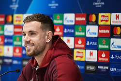 LIVERPOOL, ENGLAND - Monday, February 18, 2019: Liverpool's captain Jordan Henderson during a press conference at Anfield ahead of the UEFA Champions League Round of 16 1st Leg match between Liverpool FC and FC Bayern München. (Pic by Paul Greenwood/Propaganda)