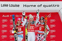 05.12.2015, East Summit Course, Lake Luise, CAN, FIS Weltcup Ski Alpin, Lake Luise, Damen, Abfahrt, Rennen, im Bild v.l. Fabienne Suter (SUI, 2. Platz), Lindsey Vonn (USA, 1. Platz), Cornelia Huetter (AUT, 3. Platz) // 2nd placed Fabienne Suter of Switzerland ( L ), winner Lindsey Vonn of the USA ( C ) and 3rd placed Cornelia Huetter of Austria during the race of ladies downhill of the Lake Luise FIS Ski Alpine World Cup at the East Summit Course in Lake Luise, Canada on 2015/12/05. EXPA Pictures © 2015, PhotoCredit: EXPA/ SM<br /> <br /> *****ATTENTION - OUT of GER*****