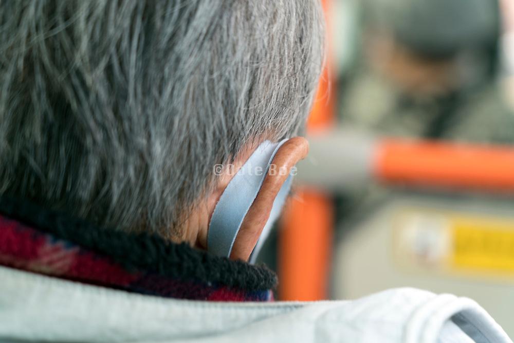 senior man wearing a mask during the covid pandemic Japan