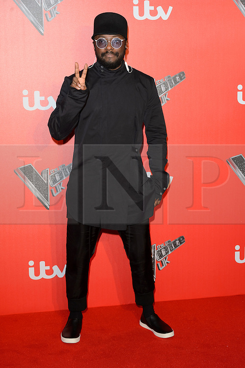 © Licensed to London News Pictures. 04/12/2017. WILL.I.AM attends the Launch of The Voice UK on ITV, London, UK. Photo credit: Ray Tang/LNP