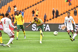 South Africa: Johannesburg: Bafana Bafana player Lebo Mothiba scores during a game against Seychelles during the Africa Cup Of Nations qualifiers at FNB stadium, Gauteng.<br />Picture: Itumeleng English/African News Agency (ANA)