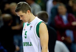 Disappointed Jaka Lakovic of Slovenia after the basketball game between National basketball teams of Slovenia and Lithuania at of FIBA Europe Eurobasket Lithuania 2011, on September 15, 2011, in Arena Zalgirio, Kaunas, Lithuania. Lithuania defeated Slovenia 80-77.  (Photo by Vid Ponikvar / Sportida)