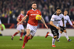 February 25, 2019 - Nottingham, England, United Kingdom - Daryl Murphy (9) of Nottingham Forest controls the ball with his chest during the Sky Bet Championship match between Nottingham Forest and Derby County at the City Ground, Nottingham on Monday 25th February 2019. (Credit Image: © Mi News/NurPhoto via ZUMA Press)
