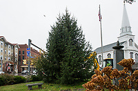 Holiday tree at Veterans Square in downtown Laconia.    Karen Bobotas for the Laconia Daily Sun