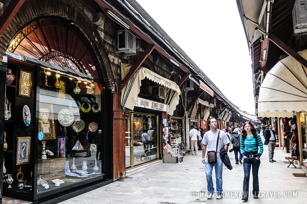 The Arastar Bazaar, a small bazaar next to the Sultanahment Camii (Blue Mosque) in Istanbul, Turkey.