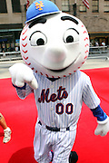 NY Mets mascot Mr. Met at the Major League Baseball All-Stars and 49 Hall of Famers ride up Sixth Avenue in All Star-Game Red Carpet Parade Presented by Chevy on July 15, 2008