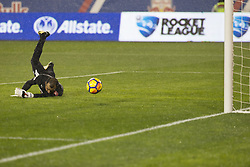 March 1, 2018 - Harrison, New Jersey, United States - Donis Escobar (28) of CD Olimpia of Honduras saves goal during 2018 CONCACAF Champions League round of 16 game against New York Red Bulls at Red Bull arena, Red Bulls won 2 - 0  (Credit Image: © Lev Radin/Pacific Press via ZUMA Wire)
