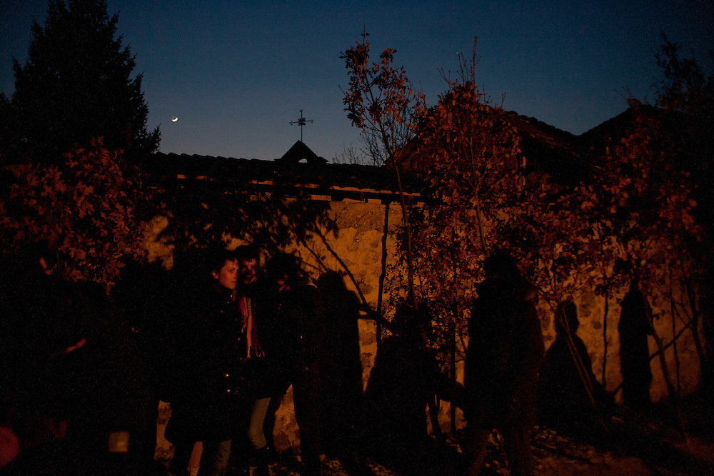 The town center of Velika Hoca during Orthodox Christmas Eve celebrations...Orthodox Christmas (January 7) in the Serbian village of Velika Hoca, Kosovo.