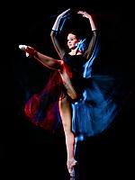 one caucasian woman ballerina classical ballet dancer dancing woman studio shot isolated on black bacground
