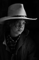 """Shot in the stables of the Priory of Sacquenay. Model: Yohan. """"Stetson"""" hat from """"Paris Hats"""", San Antonio, Texas."""