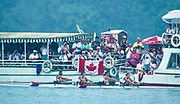Banyoles, SPAIN, Silver Medalist,  Women's four, USA W4-, Shelagh DONOHOE, Cynthia ECKERT, Carol FEENEY, Amy FULLER,  competing in the 1992 Olympic Regatta, Lake Banyoles, Barcelona, SPAIN.   [Mandatory Credit: Peter Spurrier: Intersport Images]