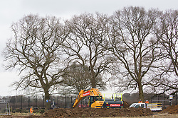 Great Missenden, UK. 18th March, 2021. Works to fell a row of hundred-year-old oak trees in Leather Lane in connection with the HS2 high-speed rail link. Almost 40,000 people have recently signed a petition calling for the trees lining the ancient country lane not to be felled to make way for a temporary haul road and construction compound and local residents and conservationists have accused HS2 contractors of destroying active bird boxes on the site.
