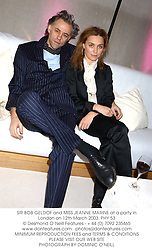 SIR BOB GELDOF and MISS JEANNE MARINE at a party in London on 12th March 2003.	PHY 53