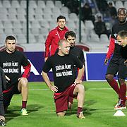 Trabzonspor's Burak YILMAZ (2ndL) and Serkan BALCI (C) during their Turkish soccer superleague match Bursaspor between Trabzonspor at Ataturk Stadium in Bursa Turkey on Saturday, 22 October 2011. Photo by TURKPIX