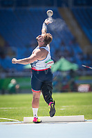 20160912 Copyright onEdition 2016©<br /> Free for editorial use image, please credit: onEdition<br /> <br /> Field Athlete, Aled Davies, Shot Put F42 - Men, from Bridgend, Wales, wins a gold medal competing for ParalympicsGB at the Rio Paralympic Games 2016.<br />  <br /> ParalympicsGB is the name for the Great Britain and Northern Ireland Paralympic Team that competes at the summer and winter Paralympic Games. The Team is selected and managed by the British Paralympic Association, in conjunction with the national governing bodies, and is made up of the best sportsmen and women who compete in the 22 summer and 4 winter sports on the Paralympic Programme.<br /> <br /> For additional Images please visit: http://www.w-w-i.com/paralympicsgb_2016/<br /> <br /> For more information please contact the press office via press@paralympics.org.uk or on +44 (0) 7717 587 055<br /> <br /> If you require a higher resolution image or you have any other onEdition photographic enquiries, please contact onEdition on 0845 900 2 900 or email info@onEdition.com<br /> This image is copyright onEdition 2016©.<br /> <br /> This image has been supplied by onEdition and must be credited onEdition. The author is asserting his full Moral rights in relation to the publication of this image. Rights for onward transmission of any image or file is not granted or implied. Changing or deleting Copyright information is illegal as specified in the Copyright, Design and Patents Act 1988. If you are in any way unsure of your right to publish this image please contact onEdition on 0845 900 2 900 or email info@onEdition.com