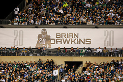 A banner featuring Brian Dawkins is seen in the stands during the NFL football game between the New York Giants and the Philadelphia Eagles on Sunday, September 30th 2012 in Philadelphia. The Eagles won 19-17. (Photo by Brian Garfinkel)