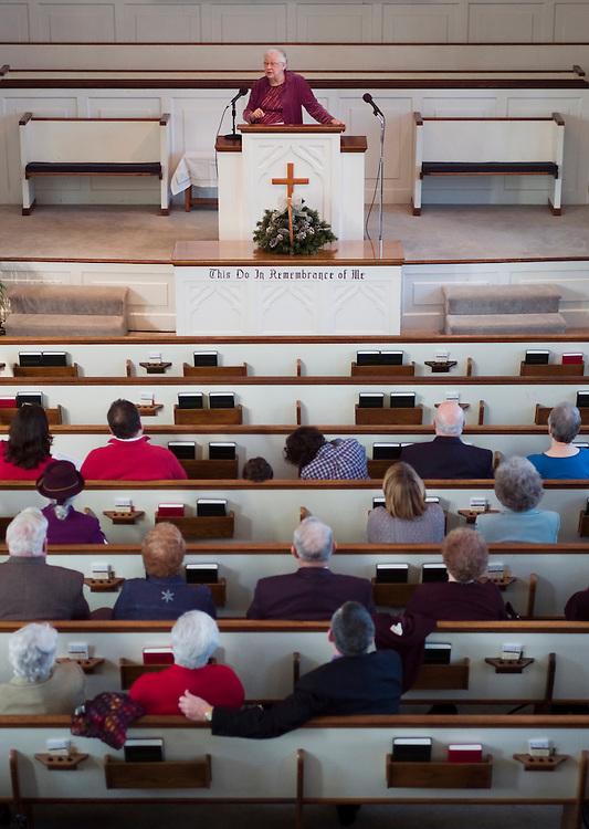 Matt Dixon   The Flint Journal..A member since 1950, Peggie Dye reminisces about past experiences with members of Lincoln Park Baptist Church during a service celebrating its 60th anniversary, Sunday, Jan. 23. The church was founded by southerners who came to work in factories in Michigan in the 40s and 50s.