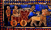 Detail from the Standard of Ur (Peace side). Sumerian artefact (circa 2600 BC) excavated from the royal tomb in the city of Ur in the 1920's. South of what is now Baghdad in Iraq. It is an historical account of ancient warfare, and shows a king, subjects, musicians, soldiers and animals