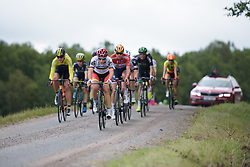 Lisa Klein leads the break over the third gravel sector at the Crescent Vargarda - a 152 km road race, starting and finishing in Vargarda on August 13, 2017, in Vastra Gotaland, Sweden. (Photo by Sean Robinson/Velofocus.com)