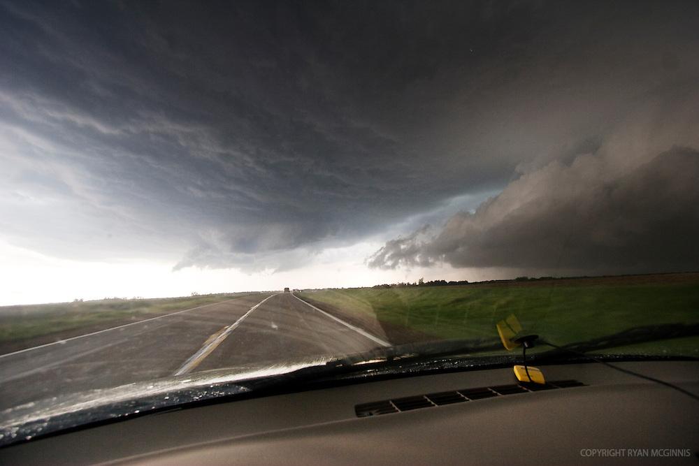 Driving into tornadic supercell near Elwood, Nebraska, May 29, 2008.