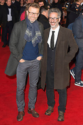 © Licensed to London News Pictures. 22/02/2016. HUGH DENNIS and DAVID BADDIEL attends the GRIMSBY Film premiere. The film centres around a black-ops spy whose brother is a football hooligan.  London, UK. Photo credit: Ray Tang/LNP